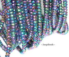 4X3MM TITANIUM HEMATITE GEMSTONE RAINBOW FACETED RONDELLE LOOSE BEADS 15.5""
