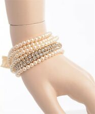 WOMENS BRACELETS PEARL RHINESTONE NEW SET ANTIQUE LOOK WEDDING FREE SHIP DEAL