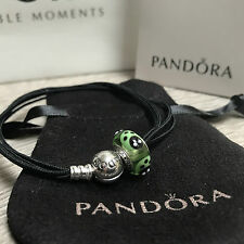 NEW PANDORA Silver Bracelet & Green Ladybird Murano Glass Charm 100%Genuine