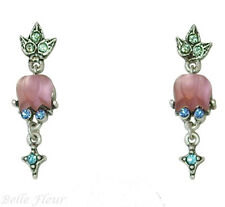 Sweet Romance Tulip Flower Satin Glass Post Earrings Pale Pink ~Made in USA~