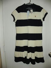 RALPH LAUREN POLO Girls Sz L 12-14 Blue Cream Wide Striped Ruffle Dress NWT NEW