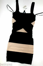 NWT bebe black beige colorblock straps stretch bodycon bandage top dress XS 0 2