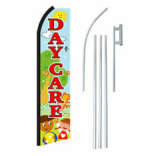 DAYCARE PLAYGROUND 15' COMPLETE SWOOPER FLAG STARTER Kit Bow Feather