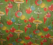 VINTAGE CHRISTMAS OLD STORE WRAPPING PAPER GIFT WRAP GREEN ORNAMENTS  2 YARDS