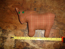 Handmade Primitive Country kitchen chic small stuffed animal embroidered cow