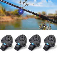 4 x Electronic LED Light Fishing Bite Sound Alarm Alert Bell Clip On Fishing Rod