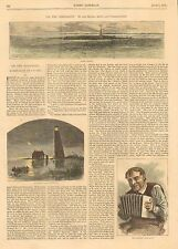 Louisiana, Stake Island, Southwest Pass Lighthouse, Vintage 1871 Antique Print