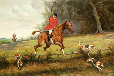 Oil painting male portrait horseman & red horse and dogs Hound in landscape