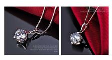 925 Sterling Silver Ladies Women Round Crystal Pendant Necklace Chain Gift