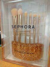 SEPHORA Glitter Happy Rose Gold Brush Set 6 Brush w/ Stand BNIB $225 SEALED