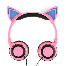 Foldable Cat Ear Headphones Headband LED Lights Handsfree Earphone for SumsungS6