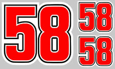 #58 SIMONCELLI 3 X AUTOCOLLANTS STICKER MOTO GRAND PRIX (CA127)