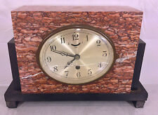Antique French UCRA Marble Clock Oval Face Brass Movement Runs