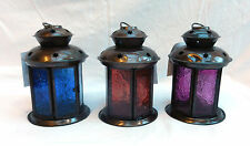 Hanging or Free Standing Copper & Stained Glass Moroccan Candle Lantern - BNWT