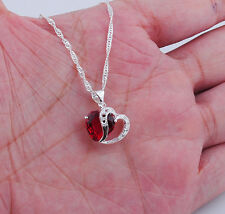 Hot WINSOME S80   Silver 2-Heart Necklace garnet Pendant 20mm*17mm S308
