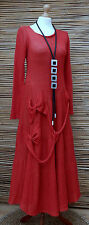 *ZUZA BART*DESIGN EXCLUSIVE BEAUTIFUL 100% PURE LINEN LONG DRESS*RED*Size S-M