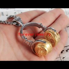 Fashion Stainless Steel Silver Gold Music Headset Mens Womens Pendant Necklace