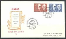 NOBEL PEACE PRIZE 60TH ANNIVERSARY ON NORWAY 1968 Scott 521-522 on FDC