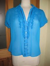 Ladies DEBENHAMS petite blue loose fit short sleeve sheer blouse/top 14 VGC