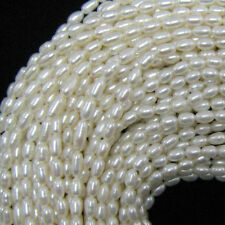"""8-9mm white freshwater pearl rice beads 15""""strand"""