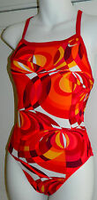 Womens NIKE One-Piece SWIMSUIT Sz. 32/6 ORANGE White RED Athletic RACING