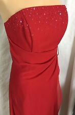Private Collection Red Strapless Bridesmaid Homecoming Prom Gown Dress Size 8