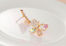 Women Lady Crystal Rhinestone Hollow Butterfly Ear Swarovski Stud Earrings Gift