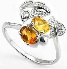 0.90 CT CITRINE & 2 PCS WHITE DIAMOND PLATINUM OVER 0.9 RING  - USA Size 8