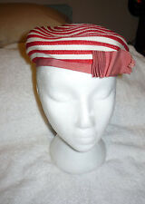 RED STRIPPED HAT VINTAGE I.MAGNIN & CO DECO CAP LADIES  I. MAGNIN BOW WALDO