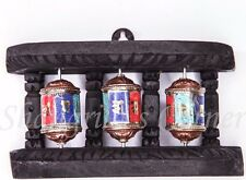 Handmade 3-in-1 Prayer Wheel WOODEN Stand Desk Wall Mount Gem Paste Inlay