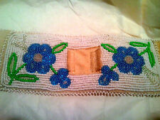 Alaskan Forget-Me-Not leather Beaded Watchband Cuff ~ Native American Indian