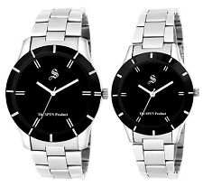 SPYN Analog Black Dial Men's and Women's Watches - Couple Combo
