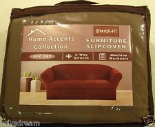 STRETCH FIT 3 Pcs Furniture Slipcover Set,Sofa/Couch+Loveseat+Chair Covers - TAN