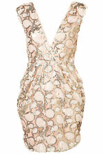 Topshop by Rare Pink Sequin Embellished Wrap Bodycon Dress UK 12 EURO 40 US 8