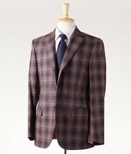 NWT $2895 ISAIA Brown-Pink Windowpane Flannel Wool Sport Coat 36 R + Hanger/Pin