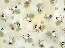 WINTER CELEBRATION CHICKADEES & PINE CONES BIRDS FABRIC METALLIC