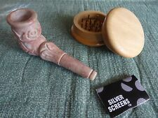 Carved Stone Tobacco Pipe w/ detach Bowl/ Free Grinder +non glass Screens(NS 2G)