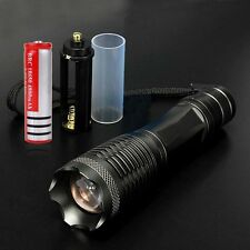 2000LM CREE XM-L T6 LED Zoomable Flashlight Black + 18650 Battery BG