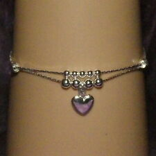 New 925 Sterling Silver 2 Chain Anklet with Beads and Dangling Heart
