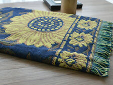 Sofa Golden Sunflower Throw Blanket Afghan with tassel Navy Blue Floral New