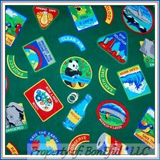 BonEful FABRIC FQ Cotton Quilt Green Earth Save the Planet Recycle Animal Panda