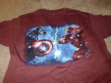 Captain America VS Iron Man Mens Civil War Red T-Shirt Size Large L