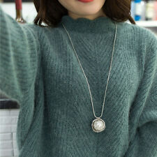 Fashion Jewelry Women Silver Nest Pearl Pendant Long Sweater Chain Necklace Gift