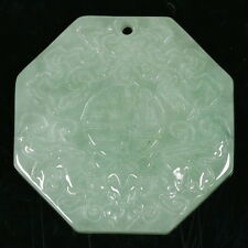 Fortune Bagua Octagon Glossy Green Pendant 100% Genuine Untreated A Jadeite Jade