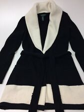 Ralph Lauren XS black white cotton blend belted long cardigan sweater