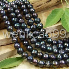 """7-8MM Black freshwater Cultured Pearl Round Loose Beads 15"""""""