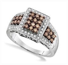 Stunning! 100% 10K White Gold Genuine Chocolate Brown & White Diamond Ring .65ct