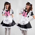 Sexy Black Beer Lolita Maid Outfit Costume Party Pink Bow Dress White Apron New