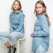 Brandy Melville Dark Blue Svein Denim Button Collar Long Sleeve Long Top NWT