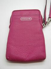 Coach Leather Cell Phone Wallet Wristlet - Pink Fuchsia
